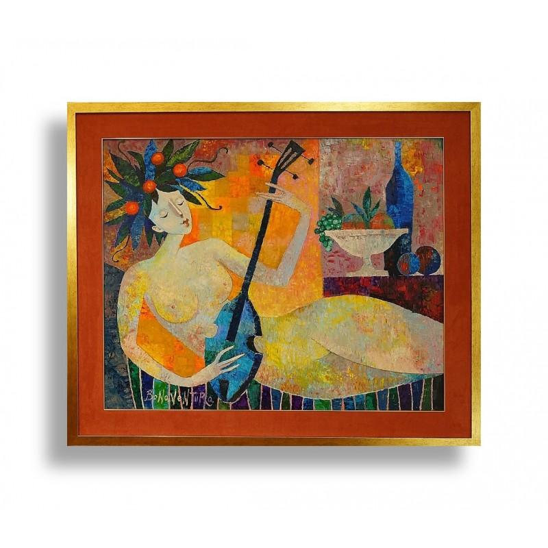 13.Jan Bonawentura Ostrowski_Kobieta z mandoliną (bt)_81x100cm obraz_101x120cm rama_olej